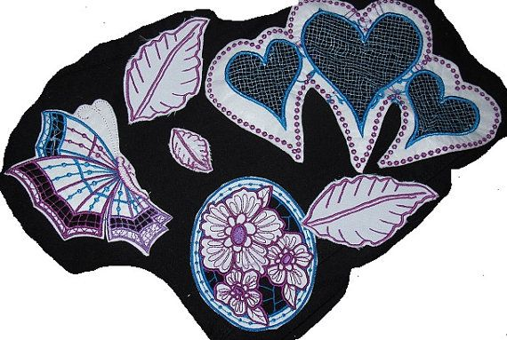 6 x Beautiful Embroidered Patchez to Design your Own T by Letzrock