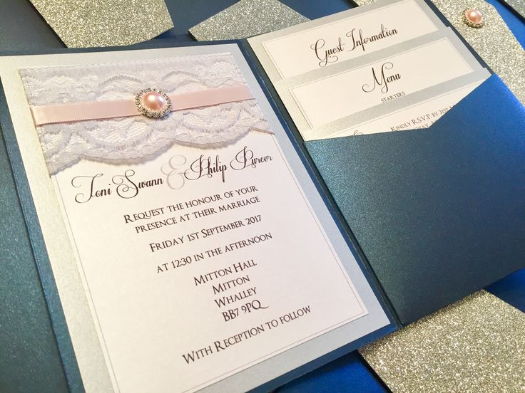 Silver, Navy & Blush Glitter & Lace Pocketfold Invitations with Pink Pearl & Diamanté detail