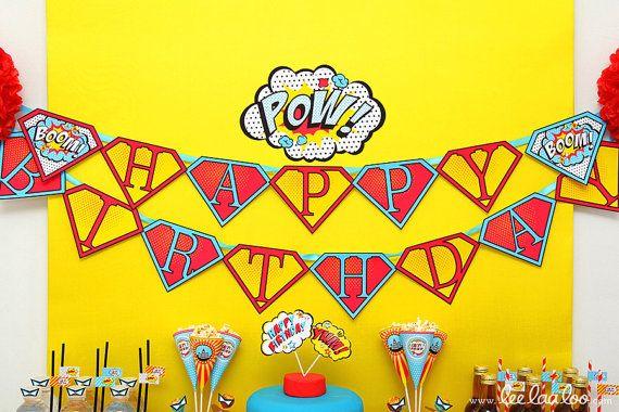 Superhero Birthday Party - Banner (Happy Birthday) NonPersonalized ...