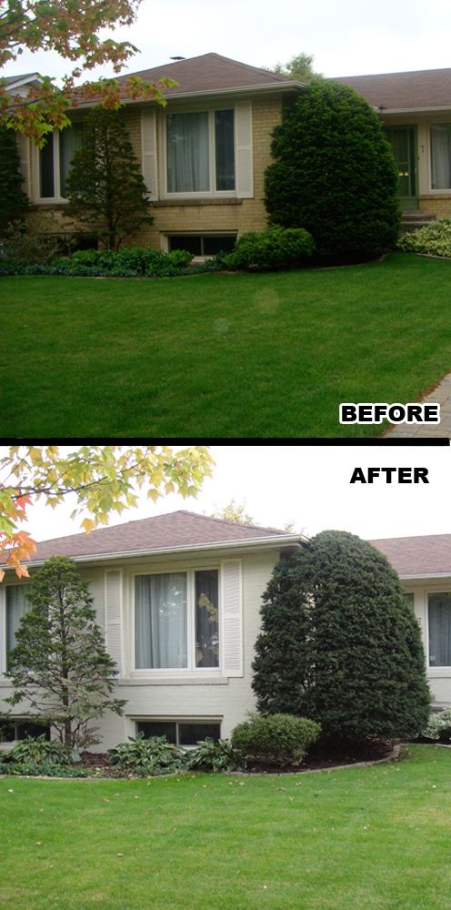 The Before and After photos of a house where we painted the brick in North York, ON, Canada.