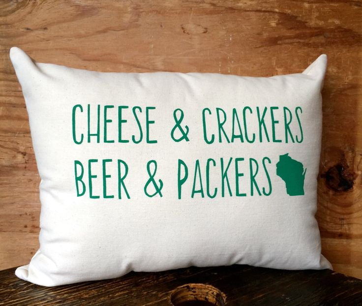 Green Bay Packers Pillow / Cheese, Cheesehead, Wisconsin, Beer by BEtimeless on Etsy https://www.etsy.com/listing/200046851/green-bay-packers-pillow-cheese