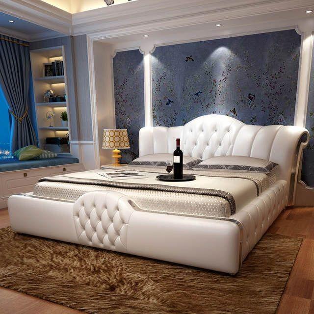 1,5 oder 1,8 m Bett Leder nach Hause weiches Leder Bett für Schlafzimmer # CE-097 eingestellt