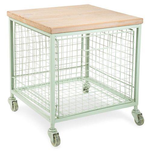 LO VOGLIO ASSOLUTAMENTEEEE!!! Tavolino da salotto verde a rotelle in metallo L 36 cm GARDEN FACTORY by Maisons du Monde