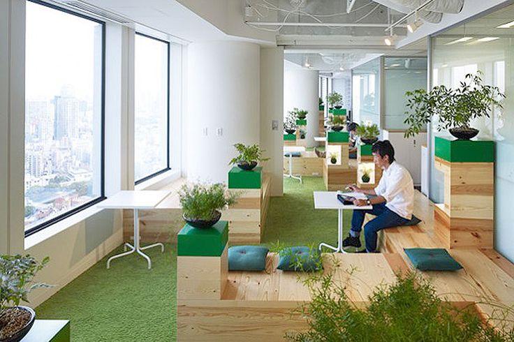 Klein maar fijn. De planten geven, in combinatie met een groen tapijt en accentkleuren een positieve bijdrage aan het interieur van het kantoor.