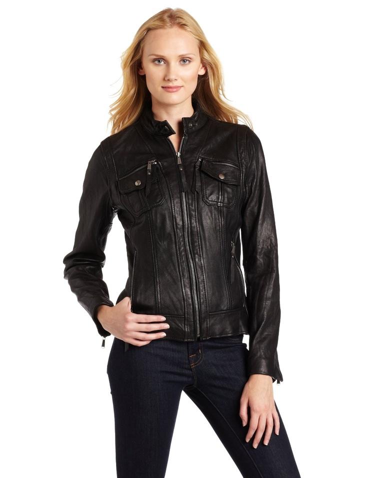Michael kors ladies black leather jacket