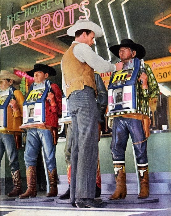 Wish I could go back in time to vintage Las Vegas of the late fifties/early sixties.  See the Rat Pack in concert, do a little gambling... I love the gunslinger Slot Machines shown here!  ~~  Houston Foodlovers Book Club