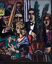 "Max Beckmann. One of my favorite German expressionist painters. This painting, ""Baccarat,"" is in the collection at the Nelson-Atkins Museum in Kansas City. There is a dark and foreboding quality to Expressionism from this period, suggestive of the cruel events ahead. Good times seemed desperate, as if some foreknowledge of barbarism was afoot in the unconscious."