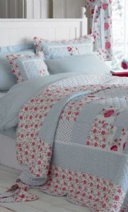 Anne Blue & Pink Patchwork Quilt Bedspread