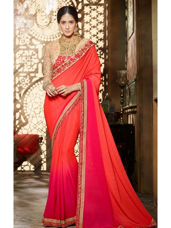 Impressive Orange and Pink Shaded Online Saree