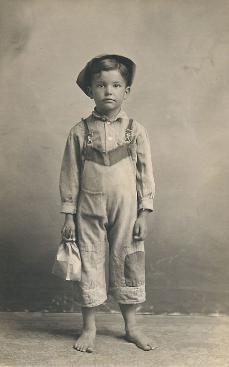 A child laborer off to work, lunch in hand? Or just studio props? The boy is identified as Willard Fan (or Tan). Contact : dicksheaff@cox.net