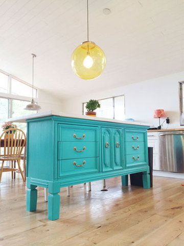 How to Fake a Kitchen Island | If your cooking area didn't come equipped with enough surface space, go the DIY route. There's a project for everyone—whether you're crafty or not so much.