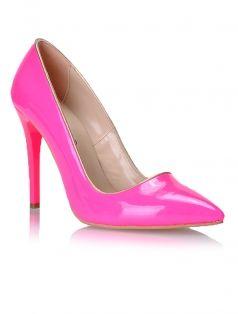 ayakkabı Neon Pembe Altın Rugan Stiletto Ayakkabı