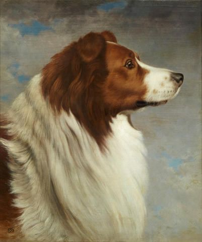 DAVID JOHNSON (American, 1827-1908), Collie head. At auction: Dogs in Show and Field, February 18 2015, 10am
