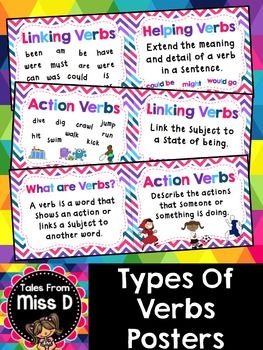 These Types Of Verbs Posters define and give examples for each verb type. The 8…