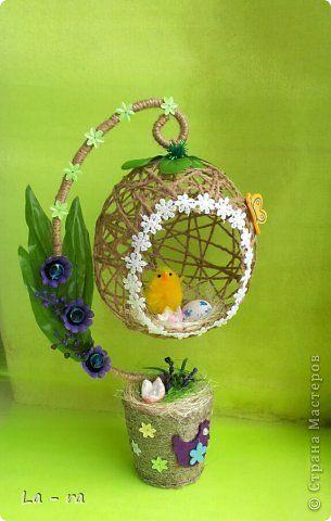 Подготовка к Пасхе в продолжение моих работ: http://stranamasterov.ru/node/752663. Делала заказ, поэтому топиарчики такие похожие. Материал шпагат, искусственные цветы, декоративные элементы. Приятного просмотра))) фото 3