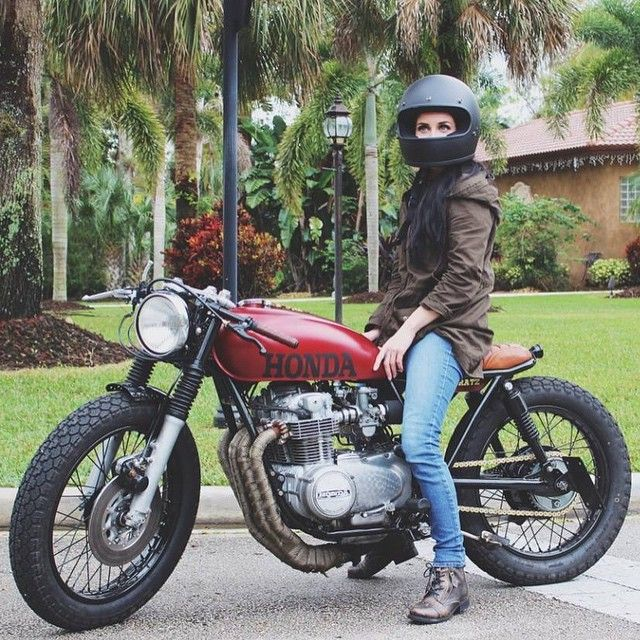 honda cb550 cafe racer - great saddle, exhaust wrap and a female