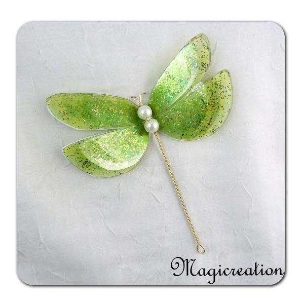 libellule GM décorative 3D vert anis