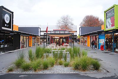 Post-disaster pop-up revitalization! Re:START Shipping Container Mall Christchurch, NZ. In the aftermath of the hurricane, a container mall takes the place of  the damaged mall.