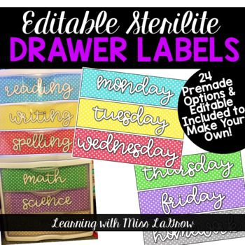 """These drawer labels are made to fit the 8.5"""" x 11"""" Sterilite drawers. Includes 24 pre-made options + all 6 colors with editable text boxes and directions to give it the same look! Fonts by A Perfect Blend **To achieve the SAME look on the six editable labels, you will need PBCoffeeMug installed, but any font will do!"""