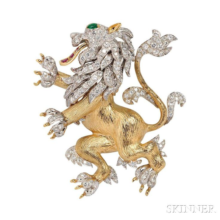 "18kt Gold, Diamond, Ruby, and Emerald Pendant/Brooch, designed as a lion, bead-set with full-cut diamonds, approx. total wt. 5.00 cts., ruby tongue and emerald eye, 32.2 dwt, signed ""HB,"" lg. 2 3/4 in."
