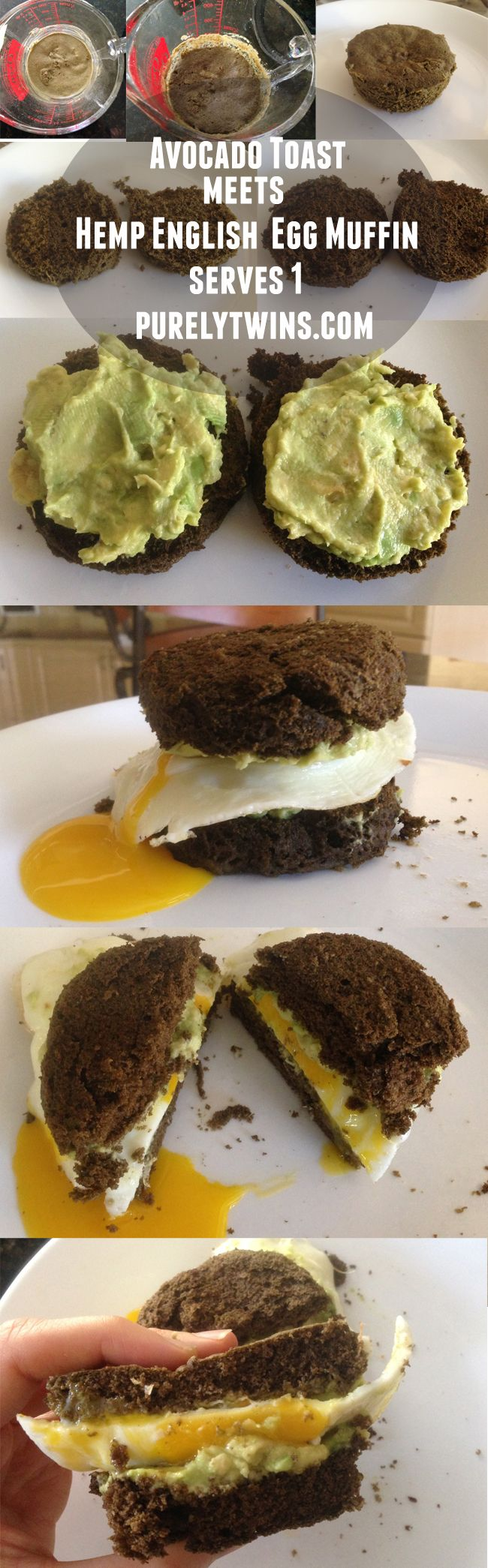 making hemp protein english muffin avocado egg sandwich
