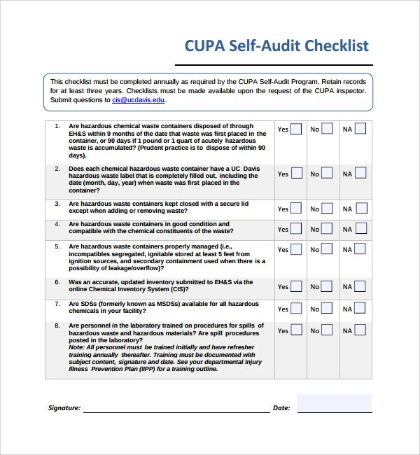 Inspiring Template Form Of Self Audit Checklist With 8 Questions