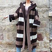 Одежда ручной работы. Ярмарка Мастеров - ручная работа Полосатое макси пальто, кардиган, манто из шерсти с поясом и капюшоном. Handmade.