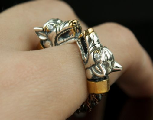 Fenrir ( diamonds / silver) - Viking ring with wolf heads - Silver Viking Wolf Head Ring Jewel Celtic Pagan Pagan Wolves Fenrir