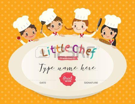 niños cocinar plantilla de diseño certificado de clasificación con la ilustración de dibujos animados pequeño chef Foto de archivo