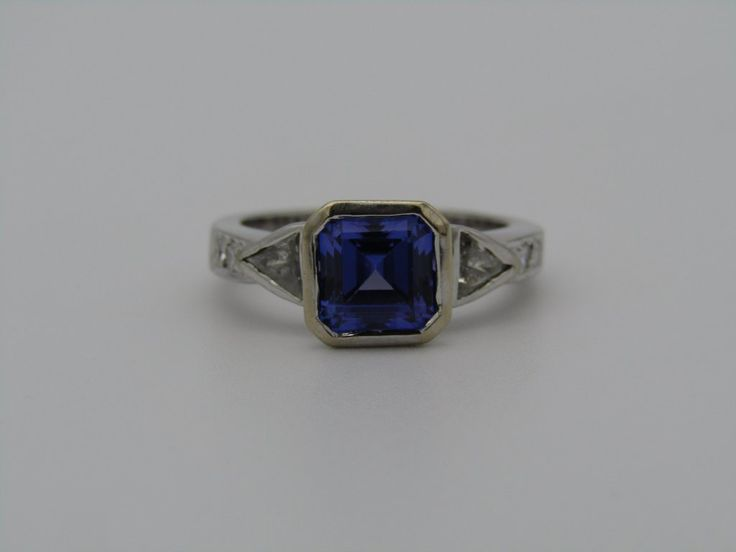 18kt gold tanzanite and diamond ring.