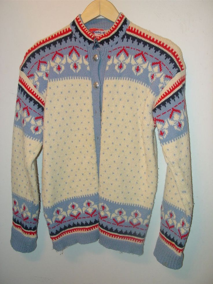 VIKING KNIT HAND MADE NORWAY WOOL CARDIGAN SWEATER M IVORY BLUE NAVY RED SILVER  #VIKINGKNITHANDMADENORWAY #CardiganWithSILVERBUTTONS