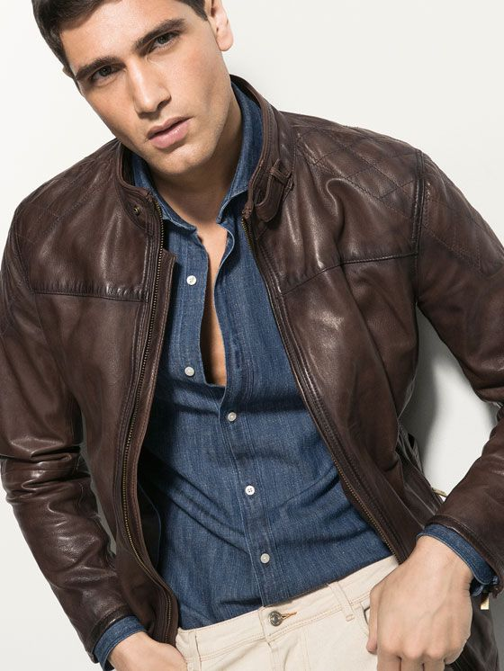 TOP STITCHED NAPPA LEATHER JACKET