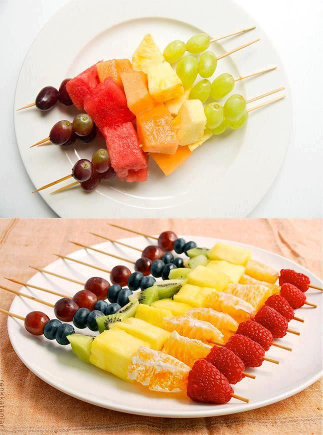 Rainbow on a stick - healthy treat