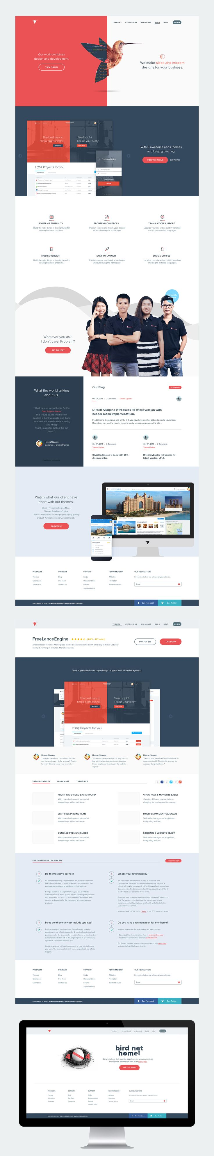 EngineThemes Re-design, website design by Hoang Nguyen, via Behance.