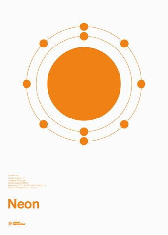 Atomic Printworks Neon Print: This screen print illustrates the electron shells of the Neon atom using fluorescent orange ink. This graphic chemistry poster is printed by hand using the screen printing process and is easily displayed in a standard 700 x 500mm frame.
