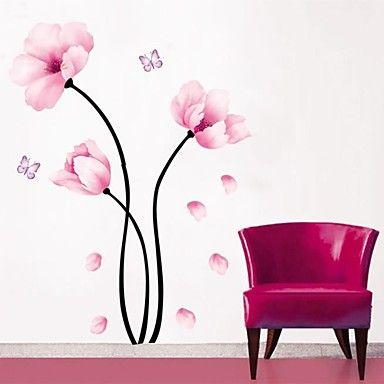 seinä tarroja Seinätarrat, yksinkertainen vaaleanpunainen kukka pvc seinä tarroja – EUR € 11.51