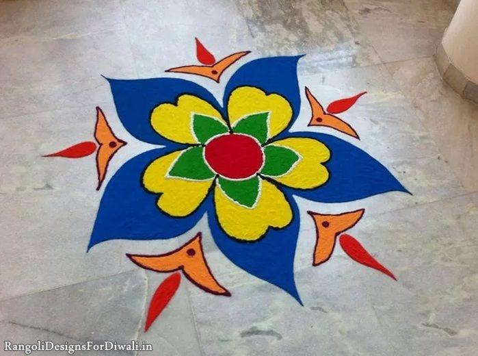 Traditional Swastik & Kalash Rangoli Images & Photos, Flower Rangoli Patterns for Diwali Festival