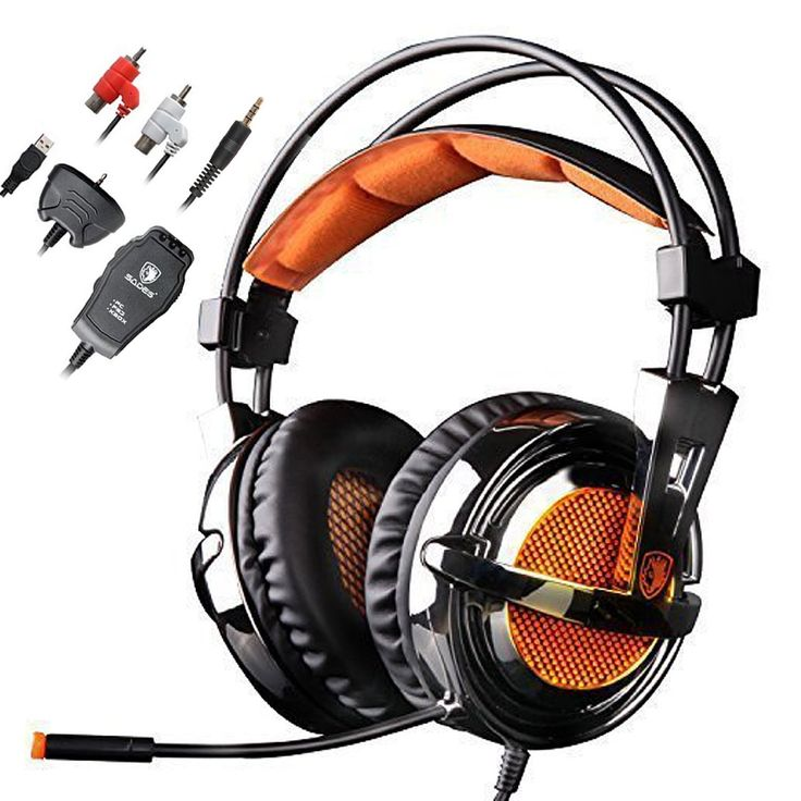 Gaming Headset for PS4 PS2 PS3 Xbox One Xbox 360 PC Mac Laptop, SADES SA928 3.5mm Stereo Over Ear Gaming Headphones With Mic by AFUNTA-Black/Orange
