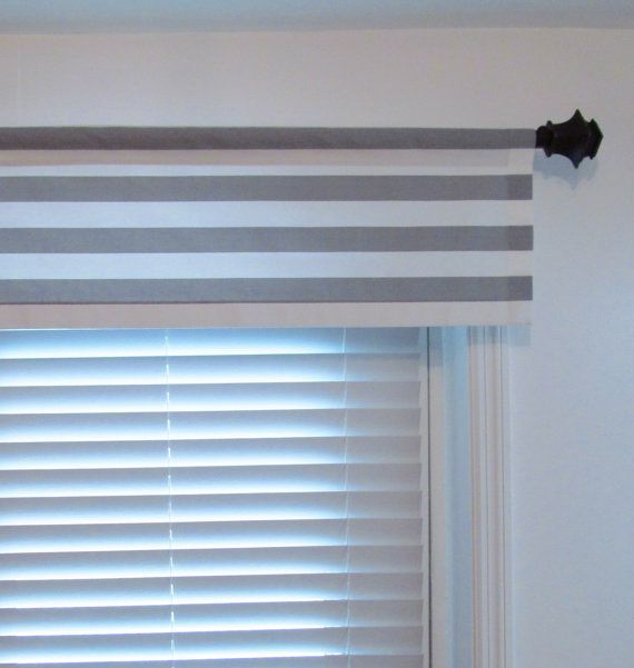 Horizontal Stripes Window Valance Gray White Stripe Rod Pocket Curtain Custom Sizing Available