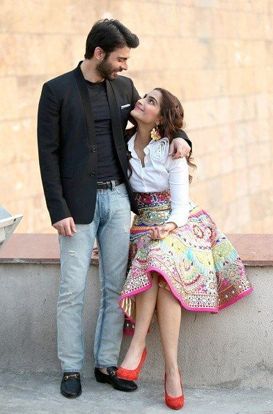 Fawad Khan and Sonam Kapoor (in a colorful Indian By Manish Arora high-waisted skirt worn with a Valentino shirt and colorful Aditi Bhatt earrings.) | Love these two! ^_^ // Khoobsurat