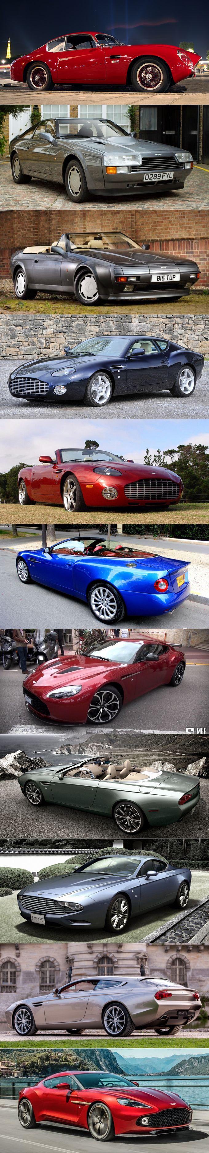 Aston Martin Zagato evolution / 1960 DB4 GT / 1987 V8 Vantage / V8 Volante / 2002 DB7 / 2003 DB AR1 / 2004 Vanquish Roadster (one-off) / 2011 V12 Vantage / 2013 DB9 Spyder / DBS / 2014 Virage Shooting Brake / 2016 Vanquish / UK ITA / red blu gry / #list