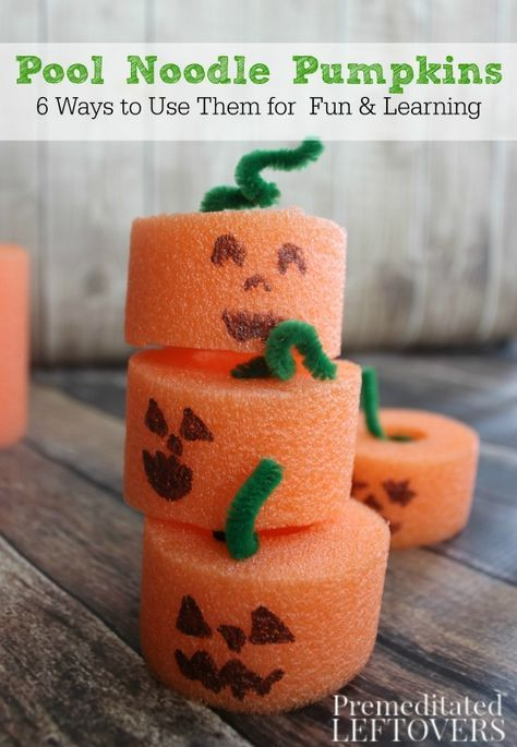 These Pool Noodle Pumpkins are a frugal and easy fall craft for kids. Pool Noodle Pumpkins can also be used for learning activities and imaginative play.