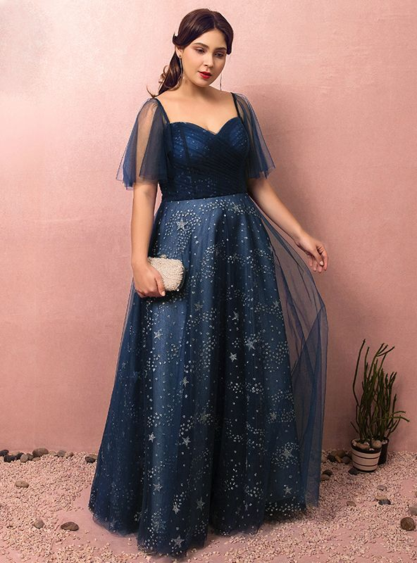 Plus Size Blue Tulle Sweetheart With Star Prom Dress ...
