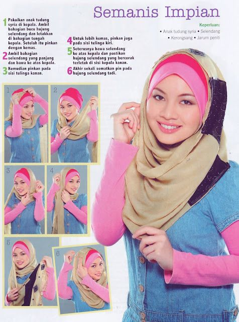 Semanis Impian - Majalah NUR - I had to look at this one carefully, but this is a great idea to extend a short hijab as a longer one.  Masha'Allah.