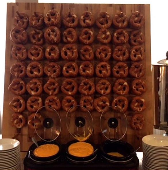 We now offer pretzel boards for your meetings and events, served with beer cheese, chocolate sauce, horseradish sauce and spinach & artichoke dip  | #DoubleTreeSyracuse #SeasonsTavern #Syracuse #SyracuseEats #Preztels #PretzelBoard #Cheese