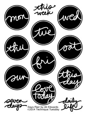 Ali Edwards Stamps - Days Flair