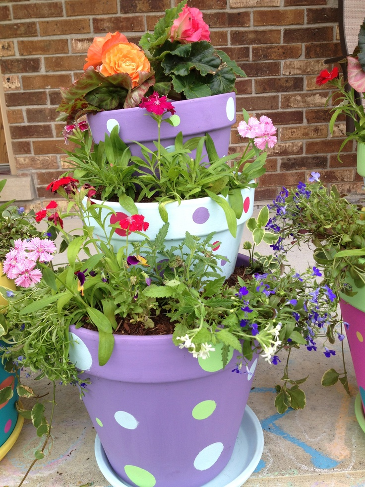 Painted and stacked flower pots 226 best