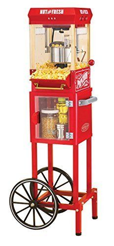 Popcorn Maker With Wheeled Cart Antique Retro Finish Makes This Beautiful Popper Perfect For Homes Businesses and Entertaining Stainless Steel Kettle Hinged Lids Makes 10 Cups of Kernels Per Batch *** Click on the image for additional details.