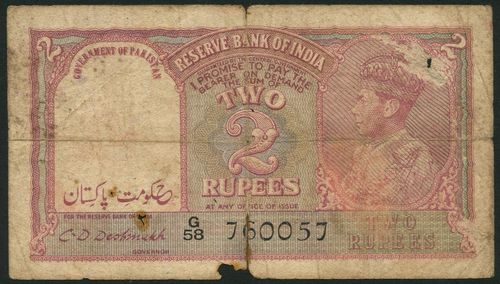 (x) Government of India (Government of Pakistan), 1 rupee, Government of Pakistan overprint, ND (1948), serial number, Q/79 105745, blue-grey, 2 rupees, Government of Pakistan overprint, ND (1948), serial number G/58 760057, lilac