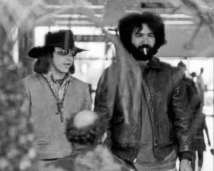 A rare photo of Owsley Stanley with Jerry Garcia at the San Diego International Airport in 1968. (Photo by Rosie McGee)